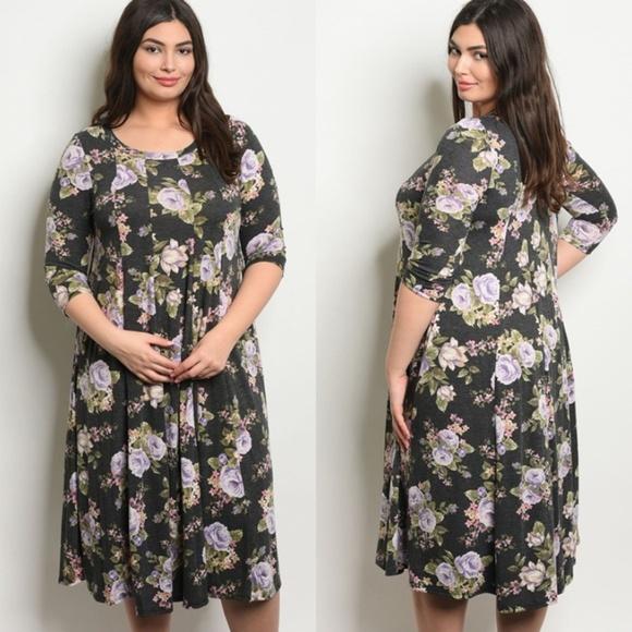 1X, 2X, 3X Plus Size rue Ivory Floral Print Strapless Flare Dress